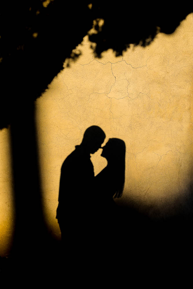 The shadow on the wall during an engagement photo shoot.