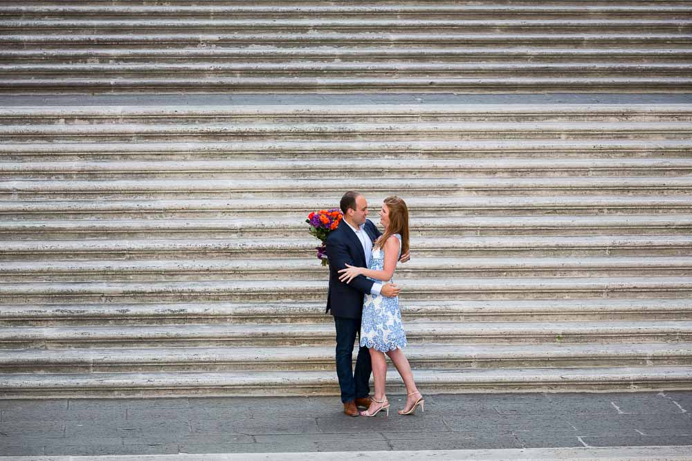 Just engaged during a photo shoot in the Piazza del Campidoglio staircase