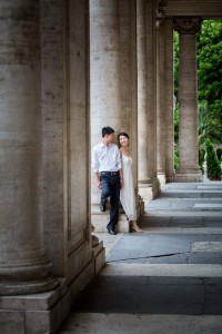 Standing by the marble columns in Piazza del Campidoglio