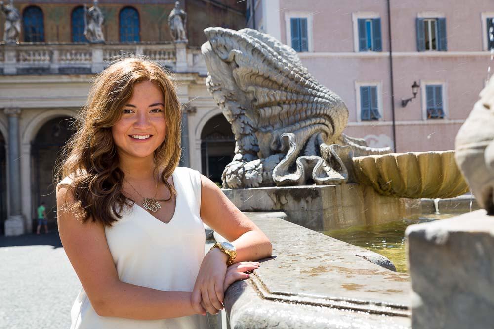 Close up portrait woman Piazza Santa Maria in Trastevere Rome Italy