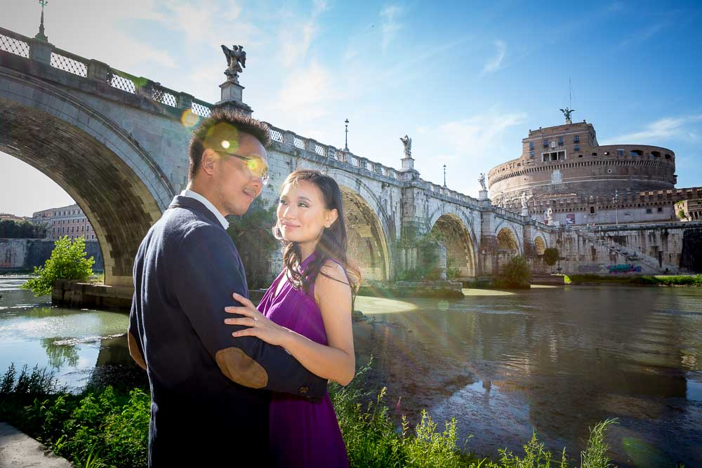 Engaged under the bridge. Angel Castle.