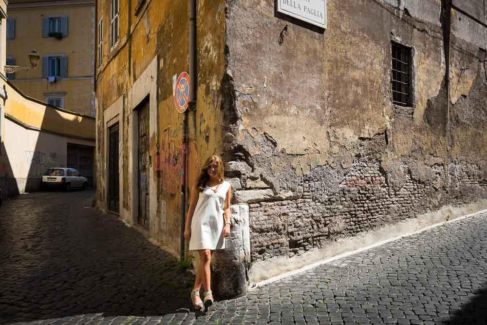 Standing in a street corner in Trastevere