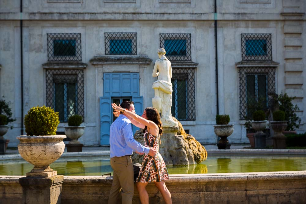Enthusiasm and happiness after the marriage proposal in Rome