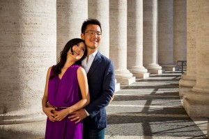 Portrait picture of a couple during a photo shoot at the Vatican