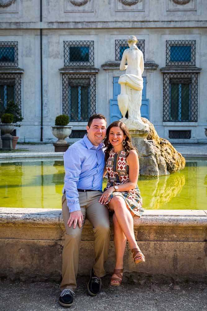 Couple portrait picture taken in front of Villa Borghese museum