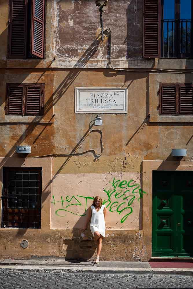 Standing underneath Piazza Trilussa