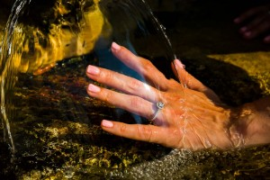 Wedding engagement ring photographed close up