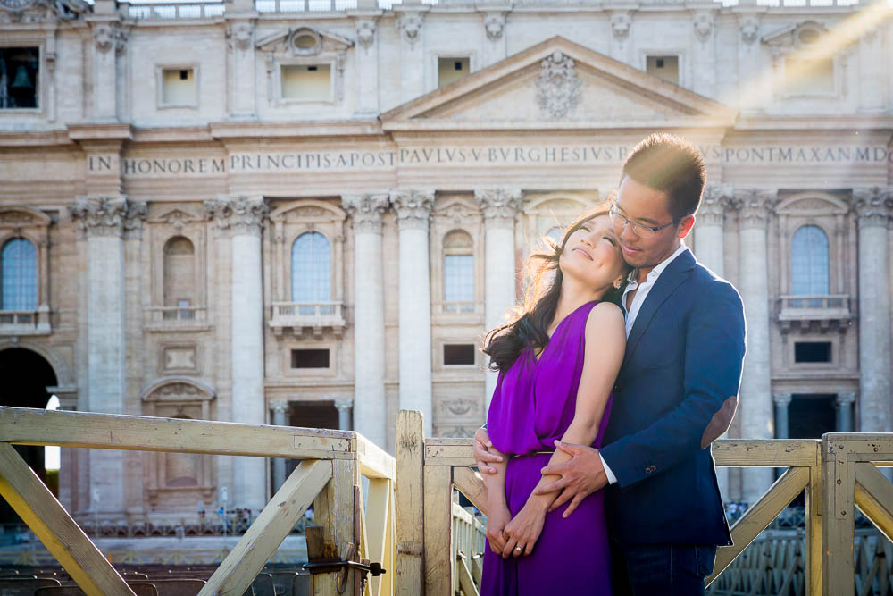 In love at the Vatican. Photo taken in front of the church facade