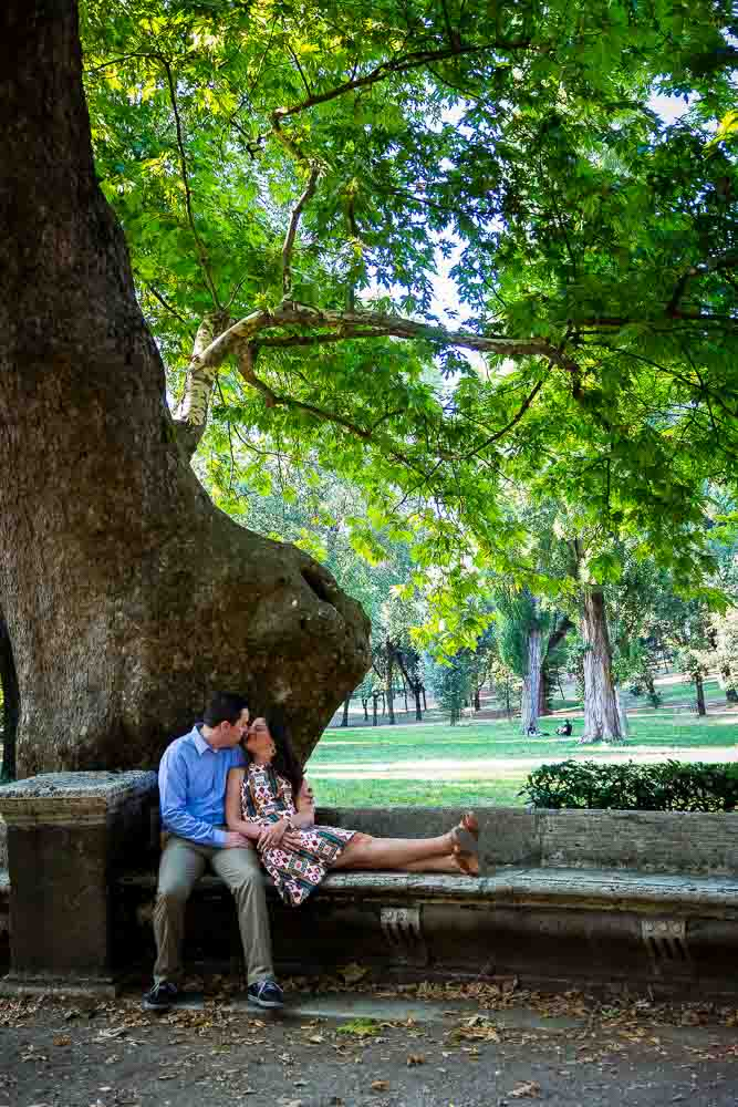 Resting under a tree in Parco Villa Borghese