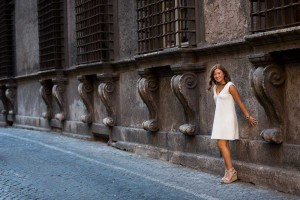 Standing next to the Farnese building