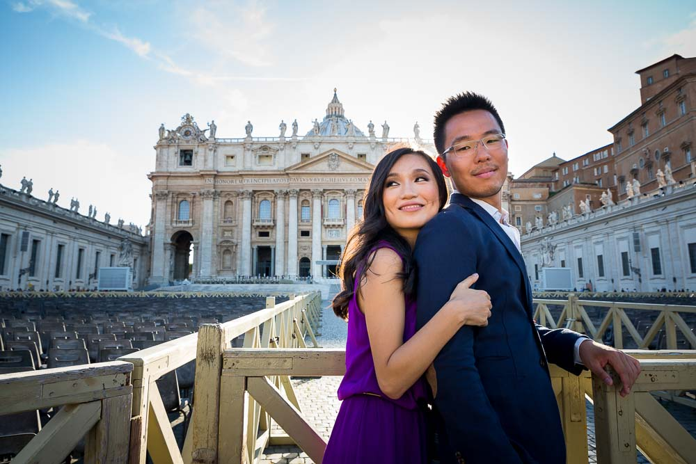 Close together. Engagement photo session. Saint Peter basilica