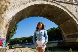 Portrait picture under the bridge Ponte Sisto in Rome Italy
