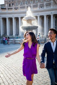 Having fun during an engagement session in the square