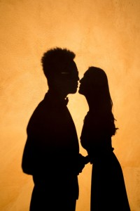 Silhouette couple kissing pre wedding