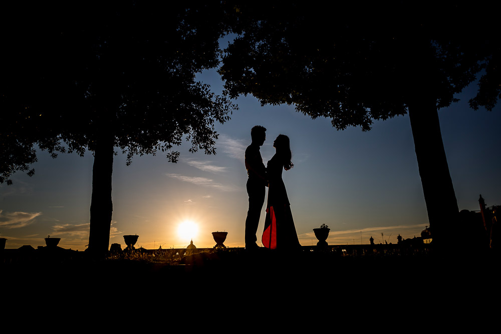 Artistic photo of wedding couple during their pre wedding photography service. Picture by Andrea Matone photographer. Rome, Italy.