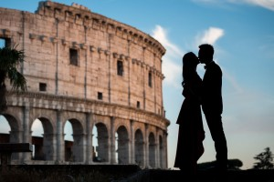 Roman Colosseum photo session. Silhouette photography. Rome, Italy