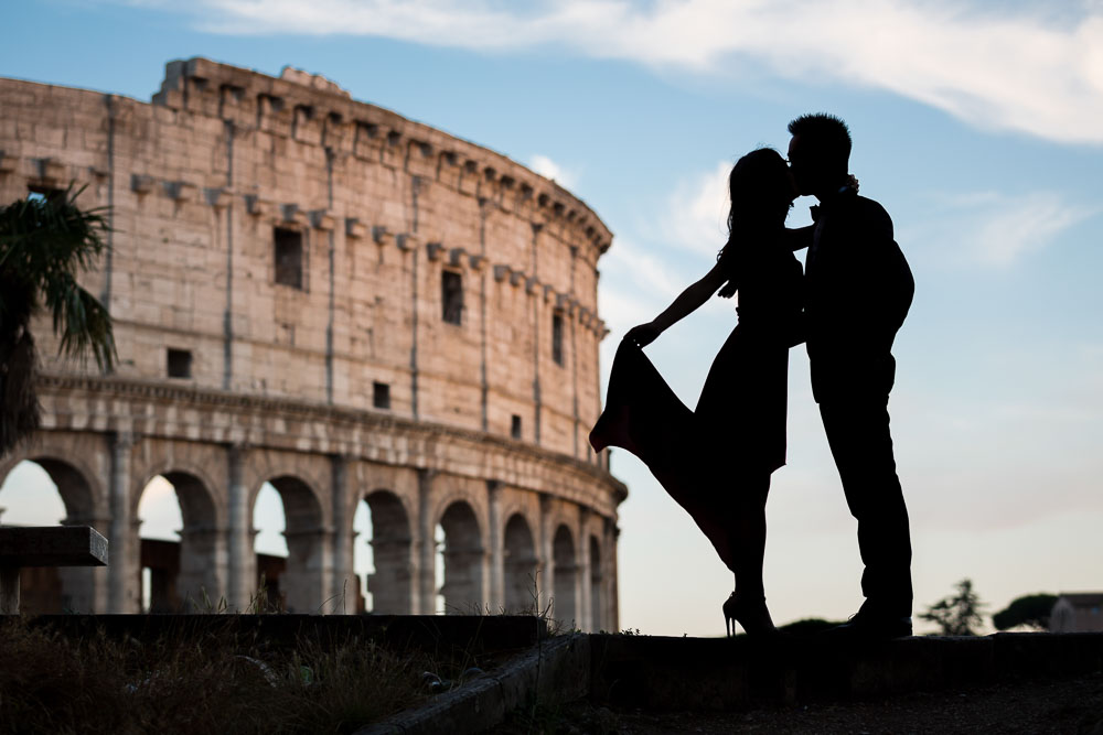 Kissing by the Roman Colosseum