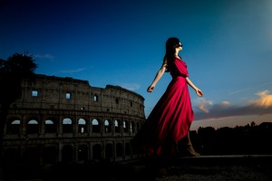 Female red model fashion photographer Rome. Andrea Matone.