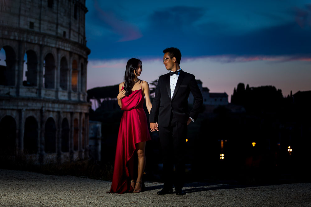 Evening formal wear photo shoot in Rome at night