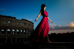Red vs blue hour. Picture by Engagement Wedding Photographer Andrea Matone. Rome, Italy.