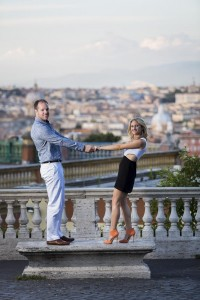 Standing on a marble bench during and engagement session in Rome