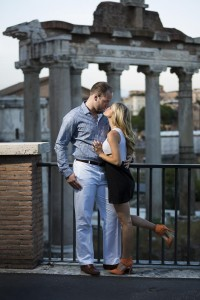 Kissing at the Roman Forum during a photo shoot