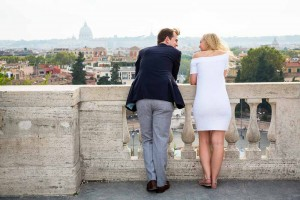 Engaged couple talking over panoramic view
