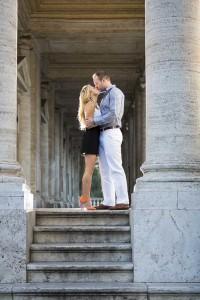 Picture taking underneath the columns in Piazza del Campidoglio in Rome Italy