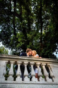 Love story engagement session of a couple kissing in Rome Italy
