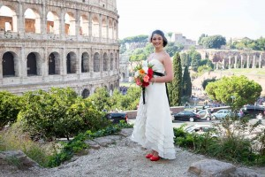 Bride ready at the Colosseum in Rome Italy