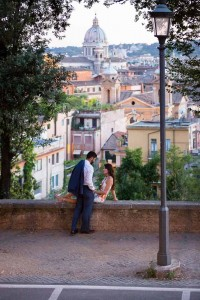 Together at Parco del Pincio overlooking the roman rooftops