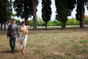Walking to the private ceremony