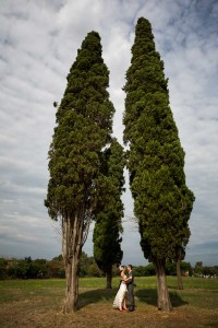 The symbolic marriage ceremony in between cypress trees in a park
