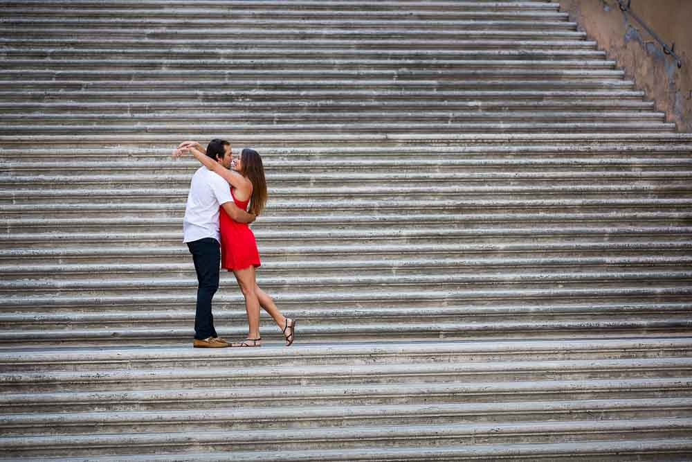Roman staircase engagement session photography