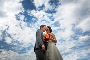 Bride and Groom in the sky creative imagery