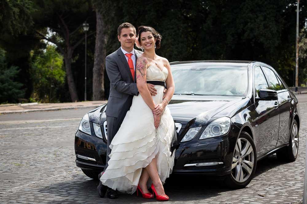 Wedding car portrait
