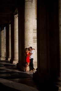Romantic love story book engagement in Rome