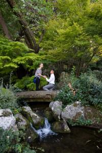 Asking for wedding marriage on top of a bridge over a creek in the Parco Giapponese. Giardino Orto Botanico. Roma. Italia.