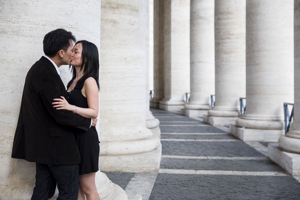Just engaged in Rome. Romantically in love under the columns of St. Peter's