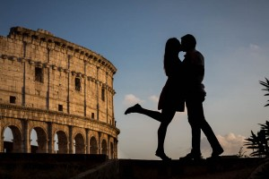 In love silhouette engagement in Rome