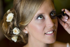 Bride close up make up session final touches