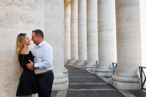 Romance under the massive columns in Saint Peter's square