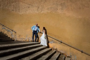Newlyweds photographed on stairs