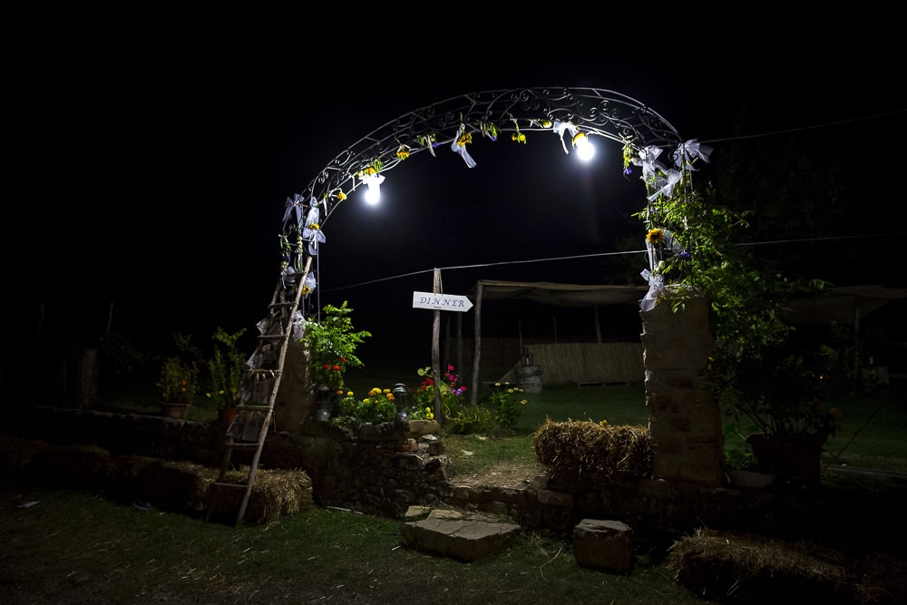 Night time photography of the wedding reception