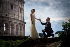 Chivalry at the Roman Colosseum during a photo shoot in Rome