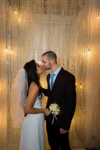 Newlyweds just married under light rain