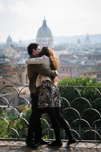 Embrace after marriage proposal in Rome