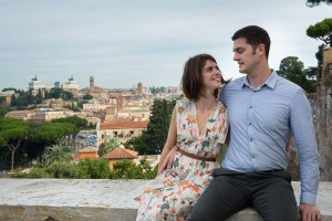 Couple together with the city of Rome in the background