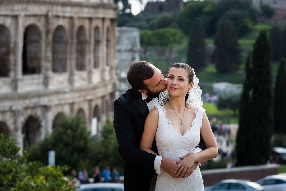 Portrait picture of bride and groom at the Coliseum