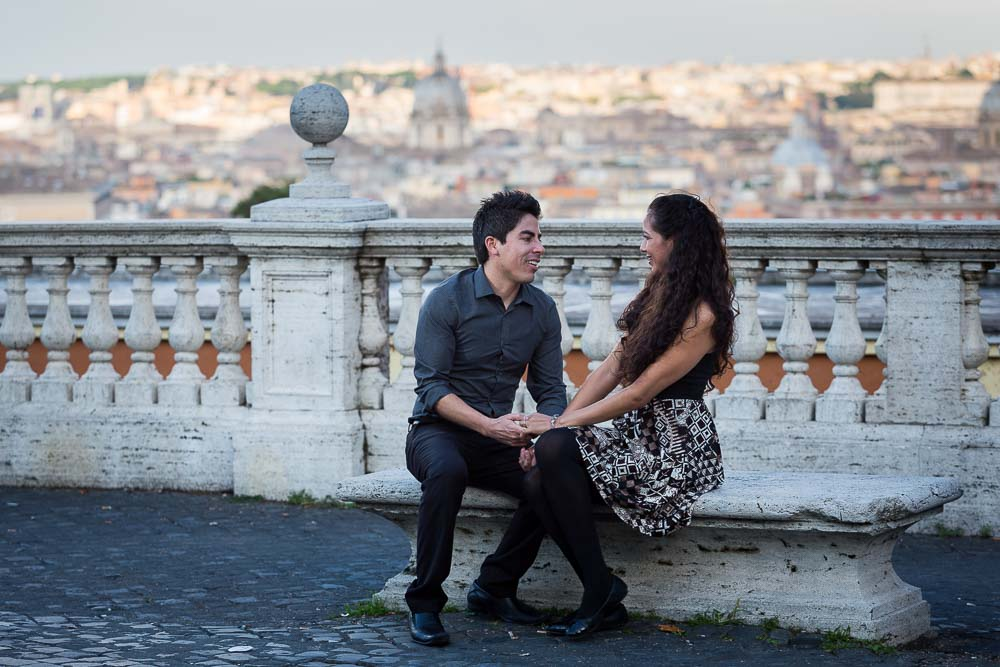 Together in Rome. Sitting down before the stunning view of the city from above.